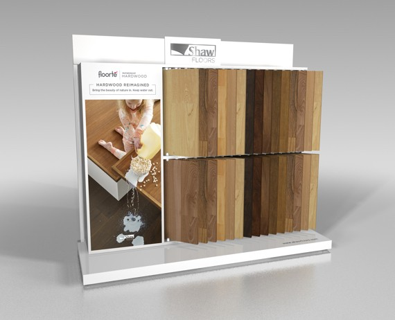 Floorte waterproof hardwood flooring display | Flooring By Design NC