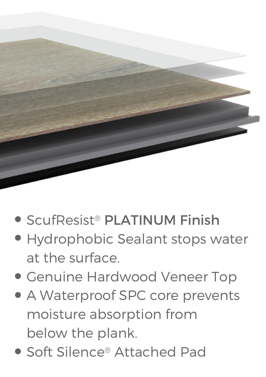 Floorte waterproof hardwood flooring construction | Colonial Interiors